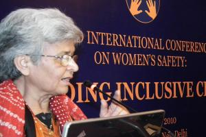 Kamla Bhasin inspires participants with a call for a free and violence free worl